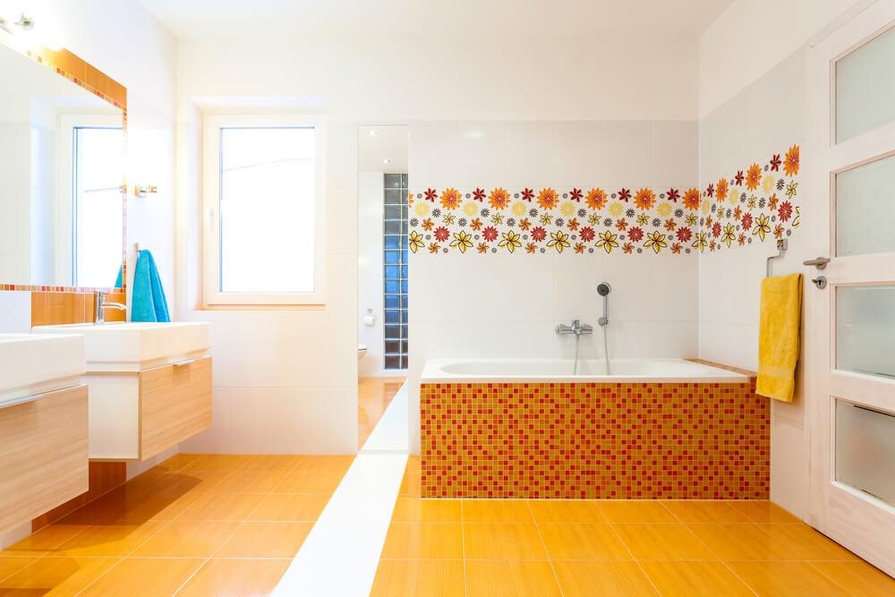 revestir o piso com a cor laranja