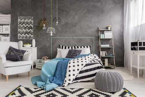 6 quartos com paredes cinza