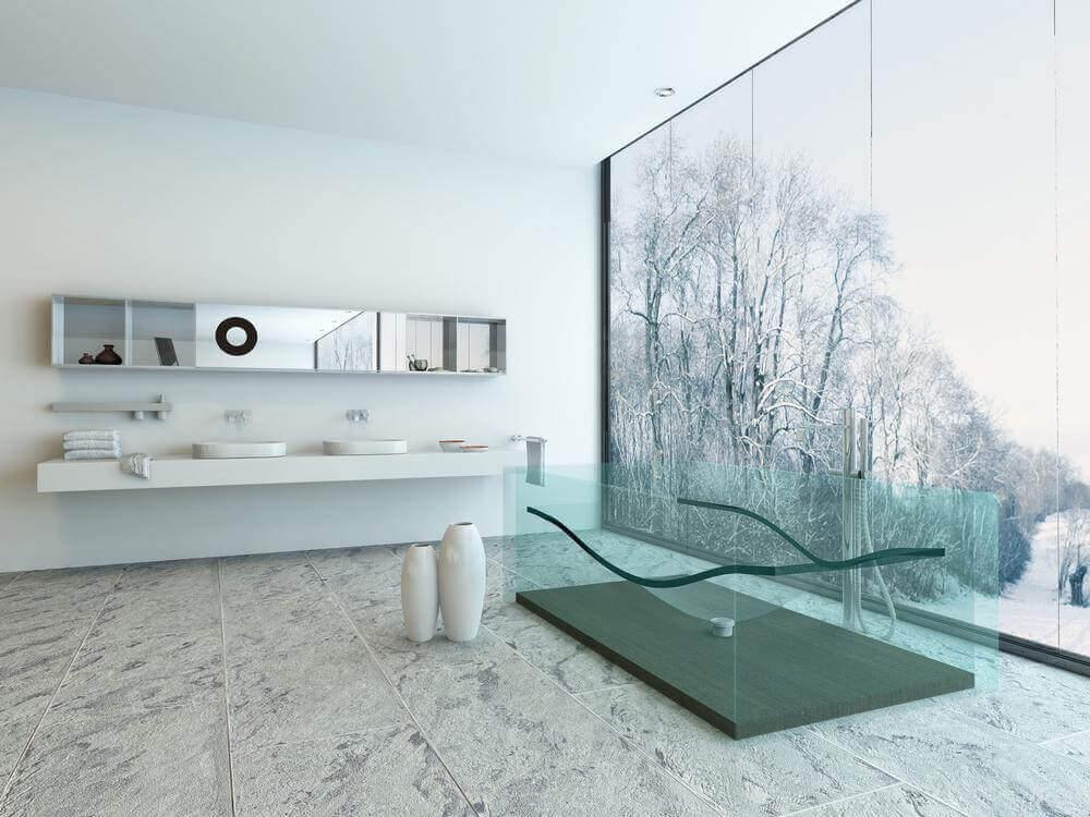 Originalidade na transparência das banheiras