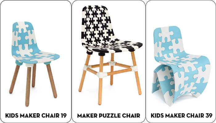 Móveis originais impressos em 3D: Cadeiras Puzzle