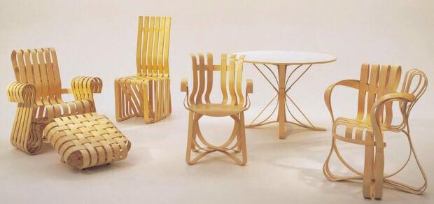 Os móveis de Frank Gehry, uma exploração desconstrutivista