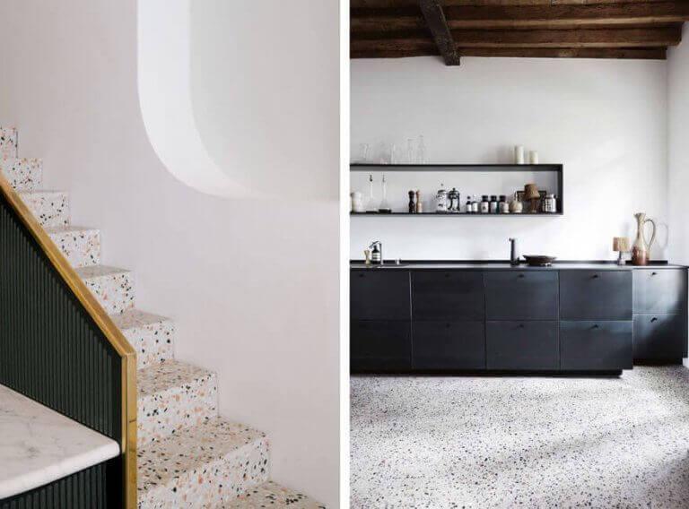 Escadas e piso decorados
