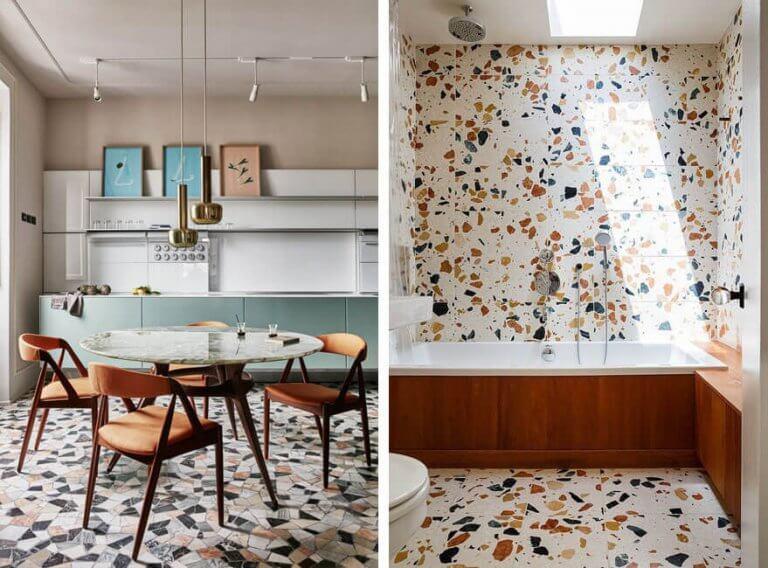 Cozinha e banheiro decorados