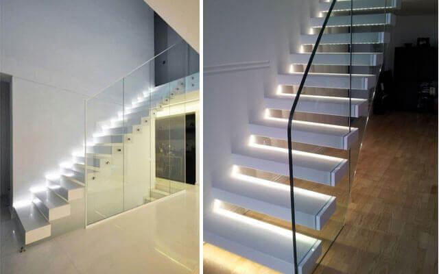 Luzes nos degraus das escadas: fórmulas e tipos