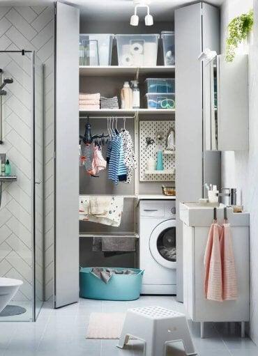 Uma mini lavanderia no banheiro: o que você acha?