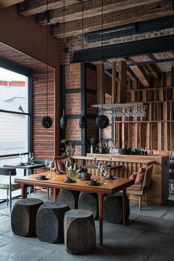 Decoração de uma cafeteria com estilo rústico