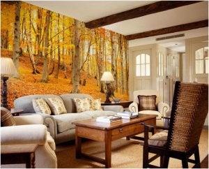 sonbahar tasarımlı oturma odası