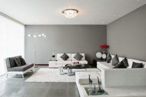 gri renkli oturma odası