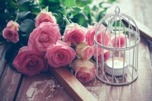 çiçek ve mum kullanılan dekoratif kuş kafesleri