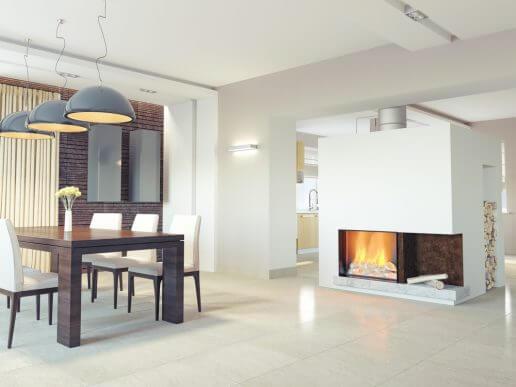 Mutfakta yanan odunlu şömine, evin merkezindeyse tüm evi ısıtır.