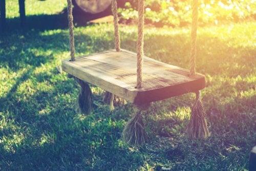 Basit bir halat ve oturacak bir tahta parçasıyla bir salıncak kurabilirsiniz.