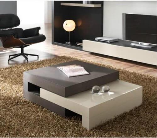 oturma odası ve gri-siyah asimetrik sehpa ve sehpanın önemi
