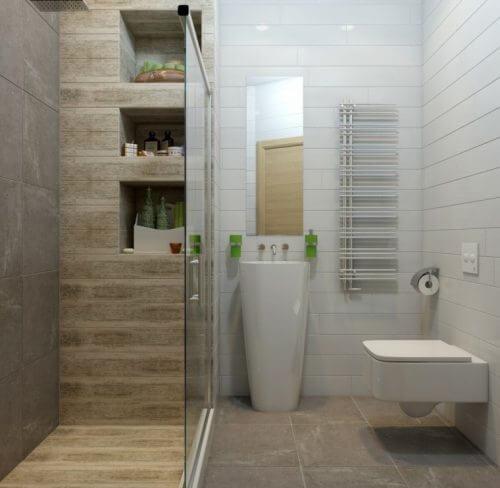 duşa kabini olan küçük banyo ve duş