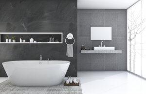 gri seramikli küvetli banyo