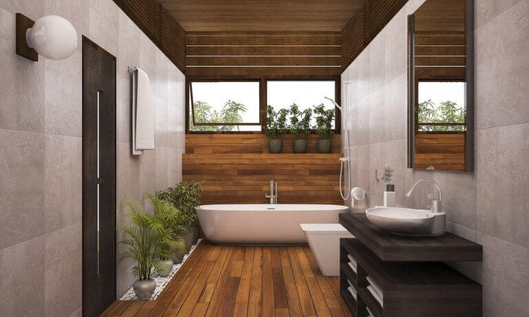 tavanda ahşap kullanan banyo