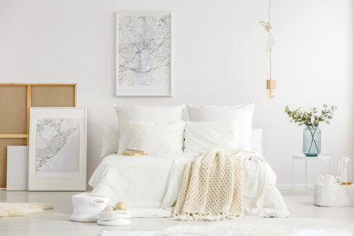 Tablo ve bitkilerle dekore edilmiş beyaz yatak odası