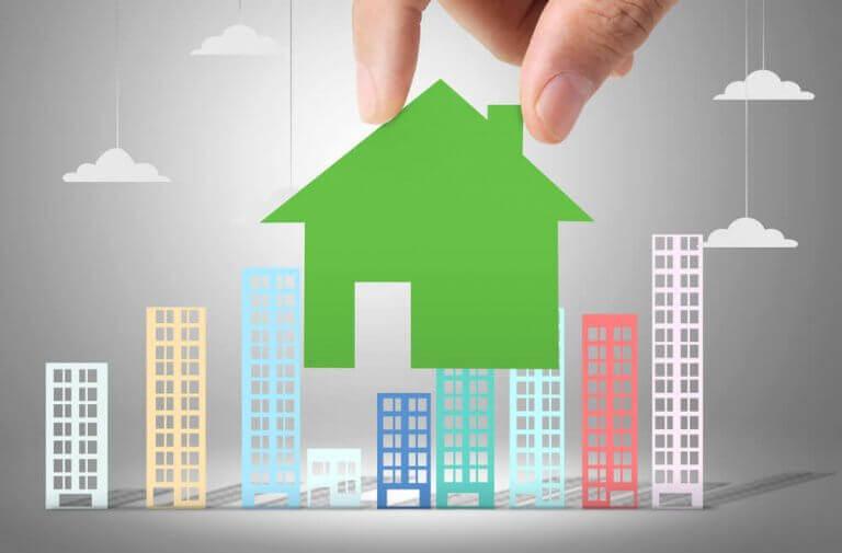 şehir ve ev illüstrasyonu