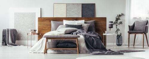 Gri tonlarında yatak odası tasarımı