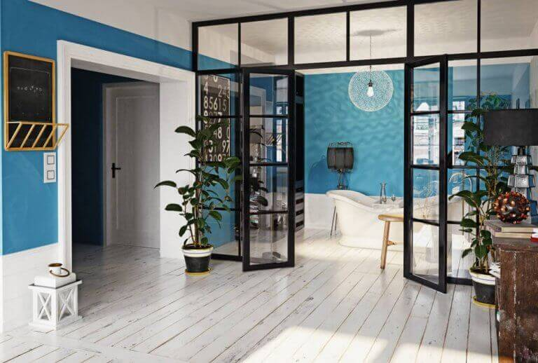 mavi beyaz oda