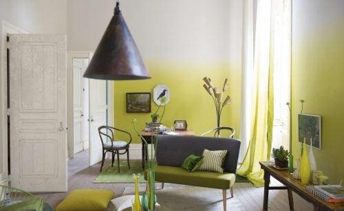sarı beyaz ombre duvar