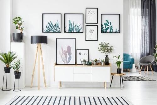 İçinde bitki resimleri olan çerçevelerle dekorasyon