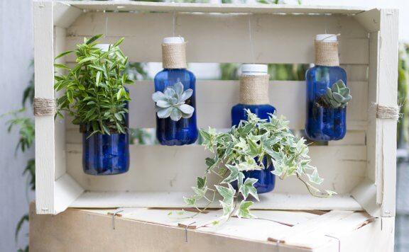 Pet şişeleri saksı olarak kullanarak meyve kasası ile dikey bahçe oluşturmak.