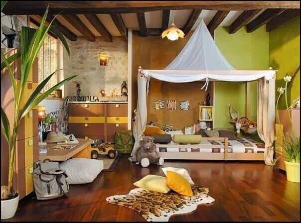 orman temalı çocuk yatak odası