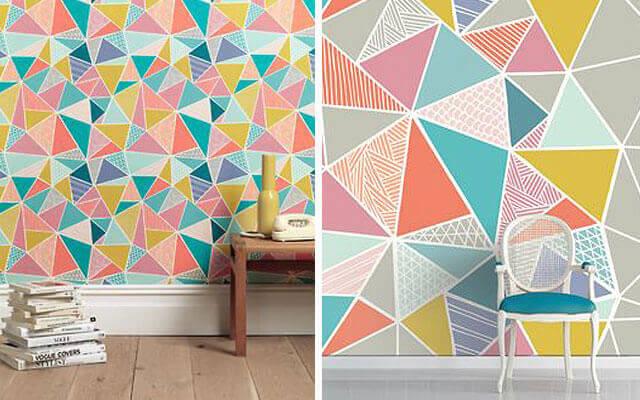 Renkli geometrik desenli duvar