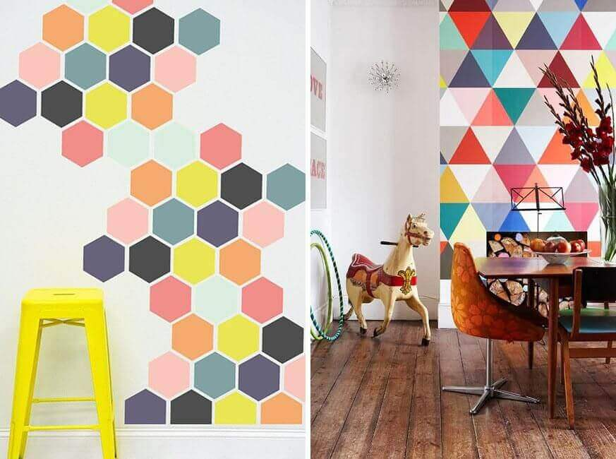 Duvara boyanmış geometrik desenler