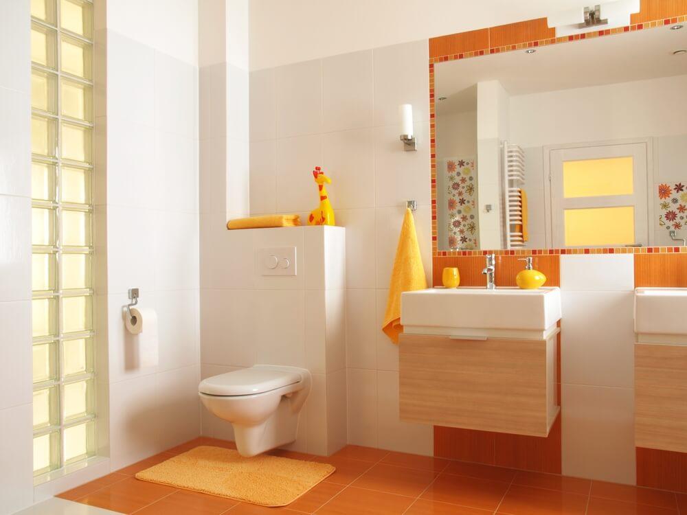 banyoda turuncu dekor