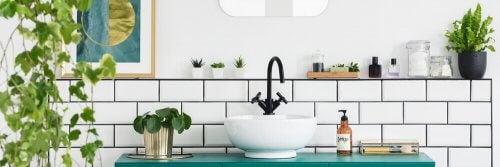Mavi tonlarında ve bitki ile dekore edilmiş banyo