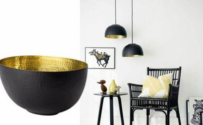 Siyah renk içi bakır kaseden lamba