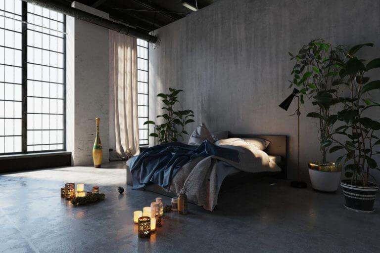 Mikro beton kullanılmış sade yatak odası
