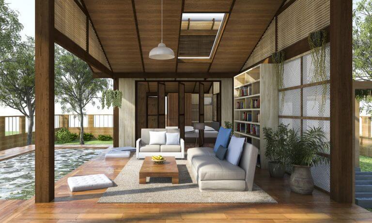 Önünde mini havuz olan kitaplıklı veranda