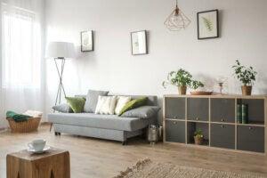 Tek başına yaşayan biri için tasarlanmış sade bir salon