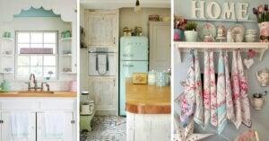 Nostaljik bir mutfak yaratmak için mobilyalar.