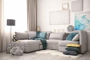 A gray L-shaped sofa.
