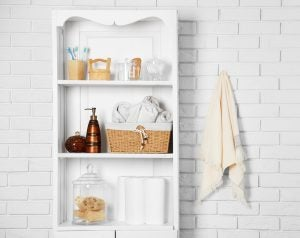 Wicker baskets make for gorgeous and practical bathroom accessories.