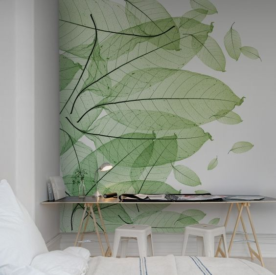 Wallpaper using leaves as a pattern.