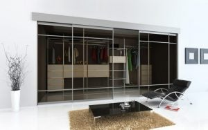 Glass sliding door.