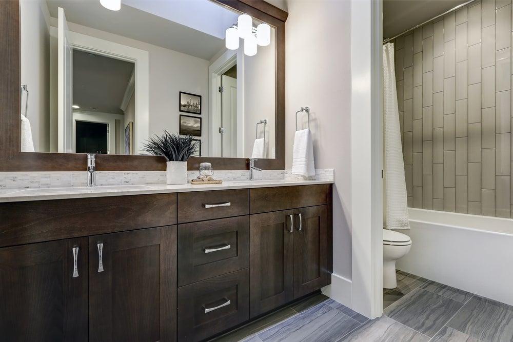 Grey brown bathroom