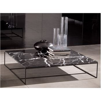 Marble-topped coffee table with ornaments