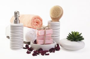 A toothbrush holder and soap dish are great bathroom accessories for decorating your sink.
