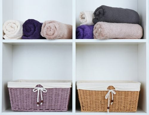 Wicker baskets can be used to store items in the bathroom