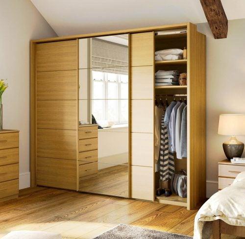 wood built-in closet
