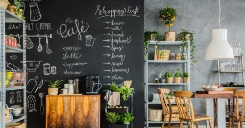 Blackboard paint is used to create a stylish wall