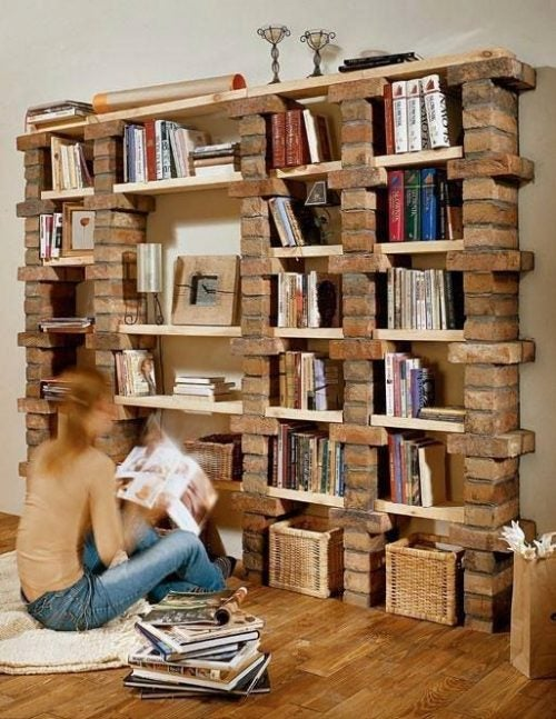 A bookcase with bricks can be a unique addition to your home