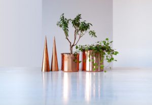 These copper plant pots make great centerpieces.