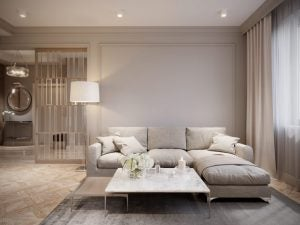 A neutral chaise lounge sofa is so sophisticated.