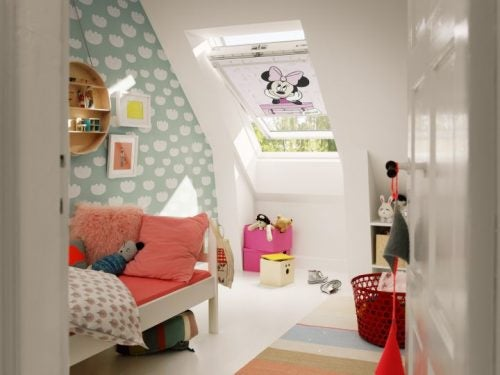blinds in an attic